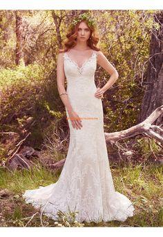 Meerjungfrau V-ausschnitt Exklusive Brautkleider aus Spitze mit Schleppe