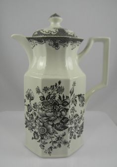 Vintage Victorian Style Black Transferware Coffee Pot Coffeepot Tea Po