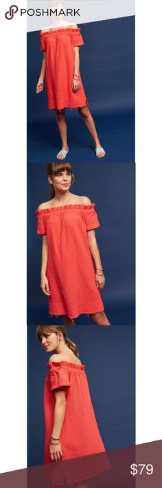 """NWT ANTHROPOLOGIE Maella Off-The-Shoulder Dress Brand new with tags NWT ANTHROPOLOGIE Amadi Maella Off-The-Shoulder Tunic Dress.With its soft solid hue, textured fabric and frayed hem, the  Maella dress is a favorite for all your events. Amadi supports the Los Angeles community by designing and crafting their garments locally.  Color: Red Size: XXS Cotton gauze Tunic silhouette Side pockets Pullover styling Machine wash Made in USA Dimensions Regular falls 36"""" from shoulder Anthropologie…"""