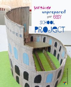 Art with Children: LAST MINUTE SCHOOL PROJECT : Making a model of the Colosseum using cardboard.