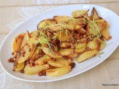 Cartofi cu bacon crocant la cuptor rețeta de cartofi copți cu afumătură Bacon, Lasagna, Potato Salad, Cauliflower, Zucchini, Potatoes, Dishes, Meat, Chicken