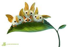 Daily Paint #1048. Honduran White Bats, Piper Thibodeau on ArtStation at https://www.artstation.com/artwork/daily-paint-1048-honduran-white-bats