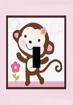 pink monkey girls Light Switch Plate cover by Stillwatersgifts, $6.99