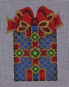 Blue/Red/Gold Package Ornament / A Collection of Design / ACOD 001 / Christmas