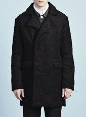 AW12 - Topman Design AW12 / TMD Black Wool Mix Boucle Coat  http://tpmn.co/S62ydN