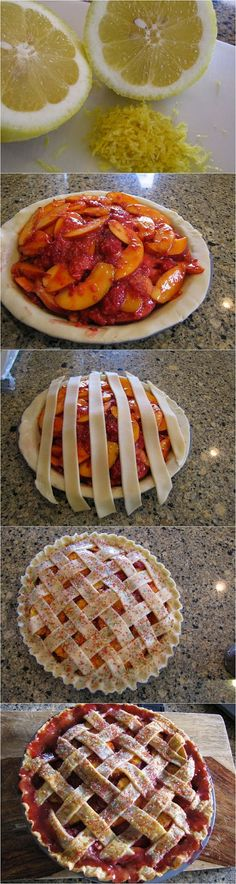 Raspberry Nectarine Pie. Wonder if you could substitute peaches?