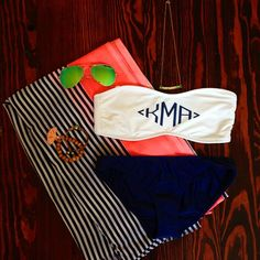 RahRah Classic Bottom in Navy is back in stock, all sizes (XS-L)! Pictured with the Diamond Monogram Bandeau Bikini top monogrammed in Navy.