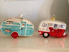vintage caravan ornaments....in all the vintage orns Ive seen Ive never come across any like this! Fabulous!