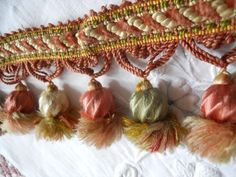 ANTIQUE FRENCH TRIM BRAID  SILK  TASSELS POMPONS  PASSEMENTERIE