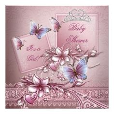 Baby Shower For A Girl - Pink Princess Theme with Butterfly and Pink Floral theme - Custom Invitation Cards.