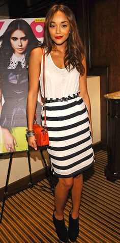 Ashley Madekwe. white tank top, striped skirt #party #style