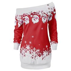 Cheap button top, Buy Quality christmas t shirt directly from China t shirt Suppliers: AZULINA Causal T-Shirts Santa Claus Snowflake Skew Neck Pullover Christmas T Shirt Jumper Outerwear Autumn Women Button Tops Christmas Dress Women, Christmas Tops, Christmas Sweaters, Merry Christmas, Womens Christmas, Christmas Hoodie, Christmas Print, Christmas Vacation, Pullover Shirt