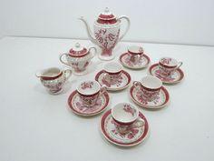 Vintage Nikko Double Phoenix Pink Red Willow Ware Complete Tea Set