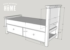 DIY twin bed with drawers. Diagram, photos, materials list and instructions for putting together the DIY twin bed. Twin Bed With Drawers, Single Beds With Storage, Bunk Beds With Storage, Platform Bed With Storage, Twin Platform Bed, Bed Frame With Storage, Twin Bunk Beds, Bed Storage, Twin Twin