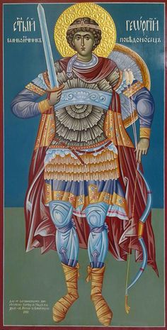 CUSTOM art inch hand painted orthodox by ArtByChimevi Byzantine Icons, Byzantine Art, Religious Icons, Religious Art, Saints And Soldiers, Saint George And The Dragon, Saint Georges, Russian Icons, Orthodox Icons