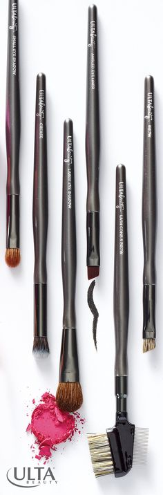 Brush, don't rush! Skip the fingers and reach for makeup brushes to blend your makeup--it takes a few seconds more for amazing payoff. Use the right tool for the job, too: this set from Ulta Beauty Collection is perfect for blending shadow on your lids and in the crease, with angled firm brushes for eyeliner and a flat bristle one for brows.