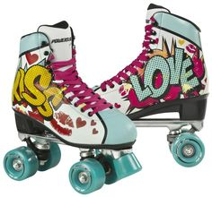 Shop Powerslide Women's Kiss Roller Skates - Turquoise, Size Free delivery and returns on all eligible orders. Roller Skate Shoes, Roller Disco, Roller Derby, Roller Skating, Rollers, Pop Art, Skate 3, Quad Skates, Skater Girls
