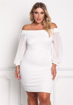 Plus Size Off Shoulder Chiffon Sleeve Bodycon Dress