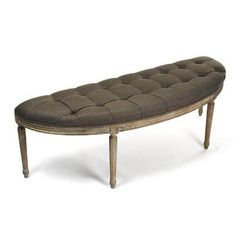 Zentique Louis Curve Bench Limed Grey Oak and Aubergine Linen Curved Bench, Base, Grey Oak, Upholstered Bench, Inspired Homes, Home And Living, Decorating Your Home, Accent Decor, Home Furnishings