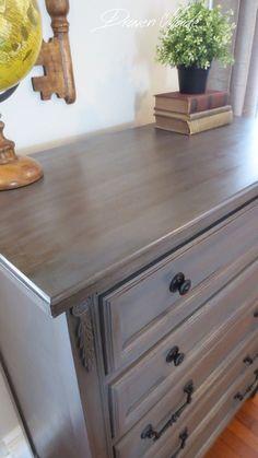 bronze gray dresser general finishes milk paint glaze GF in driftwood and glaze in van dyke