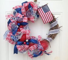 Patriotic Wreath - Deco Mesh Wreath - Grapevine Wreath - Fourth of July Wreath - Red Blue White Silver Ribbon Wreath - Summer Holiday Wreath...