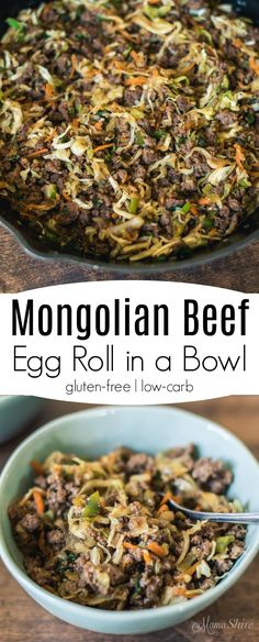 Mongolian Beef Egg Roll in a Bowl. A sweet and delicious take on a P. F. Chang's favorite. Gluten-free, Low-carb, Sugar-free, THM-FP