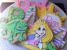 Tangled Custom Decorated Cookies for your Rapunzel themed birthday party.