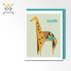 Origami Giraffe Geometric Poster Modern Nursery by DigitalBanana