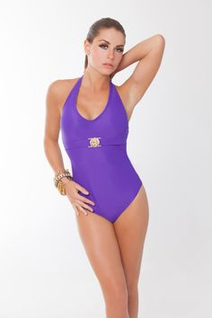 Amazing Halter One- piece . At the front: glimmering gold plated lion hardware, a light padding for subtle shaping and coverage, ties at neck.  http://gabrielamoreno.net/