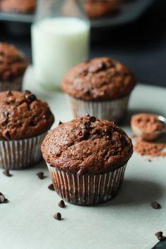 No Sugar, crazy moist, loads of chocolate flavor with great banana taste. These Skinny Double Chocolate Banana Muffins are the muffins of your dreams! | joyfulhealthyeats.com #recipes