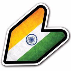 Grunge India - JDM Wakaba Leaf Flag Decal Sticker Car Macbook Shoshinsha iPad #CUSTOMI
