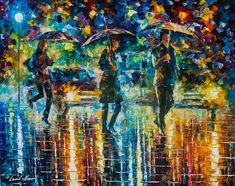 Street Painting Rainy Wall Decor On Canvas By Leonid Afremov
