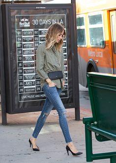 sage green boyfriend button up / super skinny jeans / classic black heels