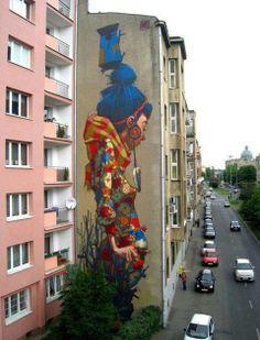 Schildering op flat in polen