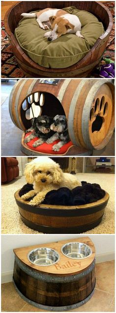 Wine Barrel Dog Beds--LOVE THE DOG HOUSE-- RP BY HAMMERSCHMID