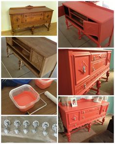 coral hutch. chalk paint. DIY painted furniture Popular with the Poplins
