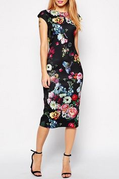 Vintage Jewel Neck Cap Sleeve Floral Print Bodycon Dress For Women