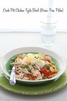 Crock Pot Chicken Fajita Bowl (Grain-Free, Paleo) via DeliciouslyOrganic.net
