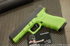 """X-Werks coated Glock 22 Gen 4 in """"Zombie Green""""  I want mine in zombie green!! That'd be cool! I like just regular black but green is awesome!"""