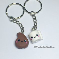Kawaii poop and toilet paper bff keychain by MariaEllenCreations