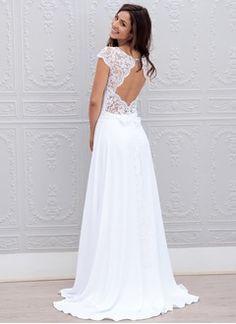 A-linjeformat Rund-urringning Sweep släp Chiffong Spetsar Bröllopsklänning med Rosett/-er