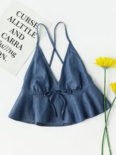 Shop Crisscross Back Flounce Chambray Cami Top online. SheIn offers Crisscross Back Flounce Chambray Cami Top & more to fit your fashionable needs. Diy Clothes, Fashion Clothes, Fashion Outfits, Fashion Fashion, Fashion Ideas, Vintage Fashion, Cami Tops, Halter Tops, Bow Tops