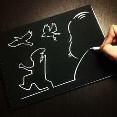 """""""La Linea Meets Hitchcock"""" by Stefano Di Lollo  (Prismacolor white pencil #PC938, Fabriano black Ingres sketchbook). *My tribute to Osvaldo Cavandoli's """"La Linea"""""""