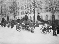 Snowplowing in Stockholm, Sweden Old Pictures, Old Photos, Snow Plow, Draft Horses, Horse Drawn, Stockholm Sweden, Budapest Hungary, Weird World, Historical Photos