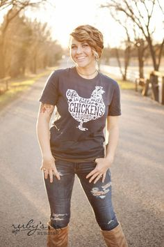 Life is Better with Chickens - Southern T-Shirt by Ruby's Rubbish $ 24, SIZE SMALL, V-NECK, HEATHERED RED