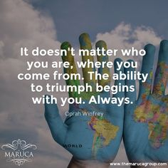 It doesn't matter who you are, where you come from. The ability to triumph begins with you. Always. (Oprah Winfrey) For Professionally managed villas around the world 🌎-The Maruca Group For Details:  Please contact us @themarucagroup  Reservations@themarucagroup.com  www.themarucagroup.com  +1305-218-5216 #motivation #conditions #try #tryhard #hardwork #life #accept #beStrong #believe #responsibilty #choices #wheretogo #smile #stronger #respectyourself #trustyourself #peace #Triumph #…