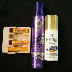 Burts Bees and hair bundle 3 brand new Burts Bees chap sticks, 1 Herbal Essences mousse, and 1 Pantene over night miracle serum All Brand New!! Other