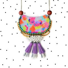 Hand Painted Rainbow Crescent Geometric Statement Tassel Necklace - Boo and Boo Factory - Handmade Leather Jewelry