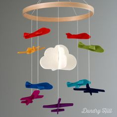 Airplane Mobile - Rainbow Multicolor - Baby Mobile - Cloud Mobile on Etsy, $50.00