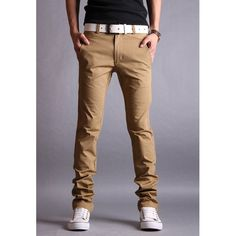 Simple Design Zipper Fly Solid Color Slimming Leather Splicing Narrow Feet Men's Cotton Blend Long Pants